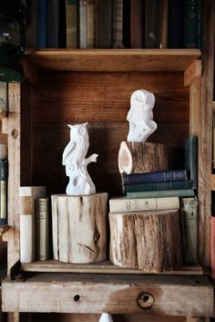 White ceramic owls and wood.