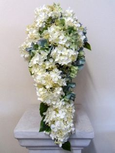 Ivory and green blue trailing hydrangea bouquet image Wedding Bouquets, Wedding Flowers, Bouquet Images, Hydrangea Bouquet, Artificial Flowers, Silk Flowers, Shades Of Blue, Wedding Designs, Blue Green