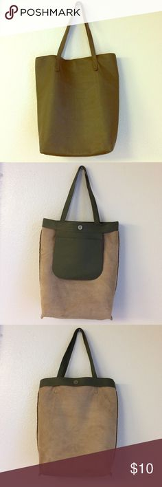 Pleather Tote Minimalist bag with earthy green tones. Nude suede inside is soft and has no damages, includes a small inside pocket for wallet and phone with a magnetic clasp to make items more secure. If you have any questions about this item, leave a comment below ! Boutique Item Bags Totes