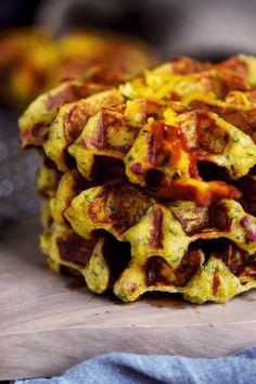Flammkuchen Kartoffel Waffeln mit Käse Füllung _ Potato Waffles with Bacon Onions and Cheese (10)