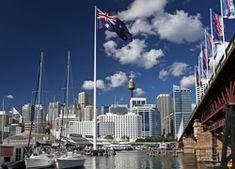 Przystań, Jachty, Drapacze Chmur, Most, Flagi, Australia Most, Australia, Cn Tower, New York Skyline, Building, Travel, Construction, Trips, Buildings