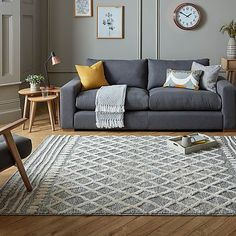 Taza Natural Rug   Dunelm Mustard Living Rooms, Scandi Living Room, Cozy Living Rooms, Living Room Grey, Rugs In Living Room, Home And Living, Living Room Designs, Scandinavian Living Rooms, Budget Living Rooms