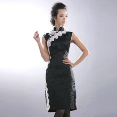 Black Brocade Sleeveless Charming Cheongsam Dress - $176 - SKU: 658097 - Custom Now: http://elegente.com/redshop.html #REDPALACE #Cheongsam #Qipao