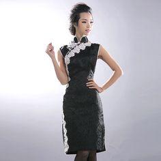Black Brocade Sleeveless Charming Cheongsam Dress - $176 - SKU: 658097 - Custom Now: http://elegente.com/redshop.html #REDPALACE #Cheongsam #Qipao