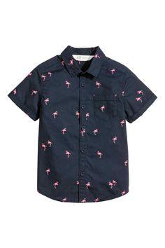 Koszula z krótkim rękawem - Ciemnoniebieski/Flaming - Dziecko | H&M PL