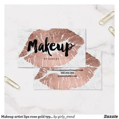 Rose gold white foil on black business card design by makeup artist lips rose gold typography marble business card colourmoves