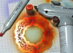 Copic Airbrush stencilling tutorial by Sharon Harnist.