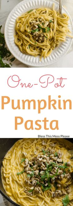 One pot creamy pumpkin pasta with toasted walnuts and parsley is a simple meatless meal the whole family will love. Plus, it's done in 20 minutes! Pumpkin Recipes, Fall Recipes, Dinner Recipes, Budget Recipes, Dinner Ideas, Healthy Eating Recipes, Cooking Recipes, Healthy Eats, Vegetarian Recipes