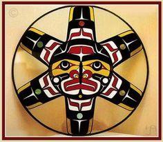 Sun stained glass suncatcher Northwest Coast Native American Indian Art, herold alfred design