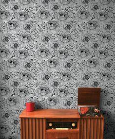 RoseFlower Silver wallpaper for powder room?