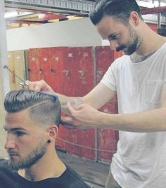 Barber Shop Style. Love that Classic men's haircuts are coming back. Love your part Boys!