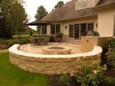 Hardscaping Back Yard Patio -- fire pit and flagstone walkway (see other pictures on link)