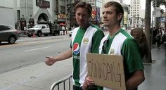 Alexander Skarsgård and Joel Kinnaman trying to hitchhike from Hollywood to Jönköping, Sweden for a football game with their team Hammarby IF.