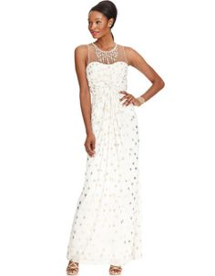 http://www.lyst.com/clothing/adrianna-papell-sleeveless-pleated-beaded-metallic-dot-gown-ivory/