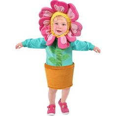 Blues, greens, and pinks adorn this cute flower costume to make your little…