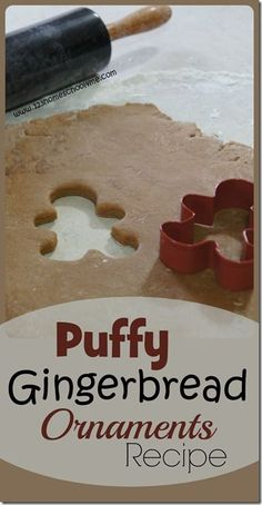 Puffy Gingerbread Ornament Recipe - This is a simple to make, perfect every time, Christmas ornament recipe. Love how they get all puffy and perfect. They smell amazing and look to pretty on the tree (christmas activity, kids activities, Christmas recipes, play, kid made Christmas gifts, toddler, preschool, kindergarten)