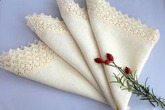 Luxury Natural Ecru off White Cream Linen Napkin by ZumZumLinen