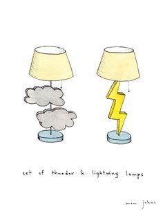set thunder & lightening lamps