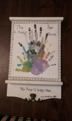 DIY father's day key holder with kids handprints