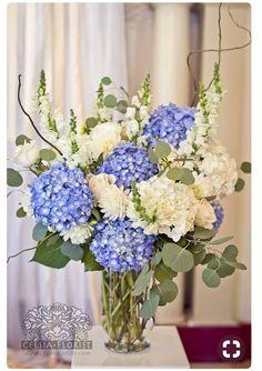 Weddings by Celsia Florist 9388 Florists Weddings and Flowers Blue Hydrangea Centerpieces Altar Flowers, Wedding Ceremony Flowers, Church Flowers, Blue Wedding Flowers, Floral Wedding, Wedding Bouquets, Beautiful Flowers, Silk Flowers, Bridal Flowers