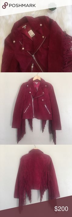 """NWT UO red suede fringe moto jacket Brand new!! Super beautiful red colored suede moto jacket. Fringe attached to back and arms! 100% leather. Professional leather clean only. Bust 17"""". Length from shoulder to hem 20"""". Comes from a smoke-free home!! Price negotiable, within reason, so feel free to make an offer!! NO trades. NO 🅿️🅿️. LOWBALL OFFERS will NOT be tolerated! I love bundles though 🛍🛍🛍 Urban Outfitters Jackets & Coats Utility Jackets"""