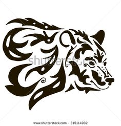 Bear Head Silhouette Stock Photos, Images, & Pictures   Shutterstock