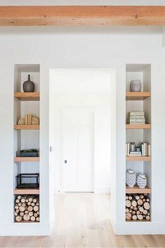 Wood shelves with white frame for dining room book cases.
