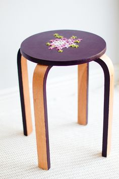 Cross stitch stool, created by Audrey, blogger for This Little Street.