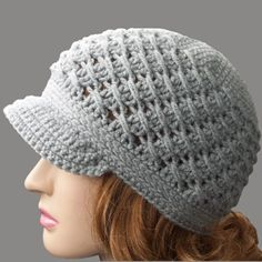 Crochet~ Cross Over Newsboy Hat- Free Pattern☆