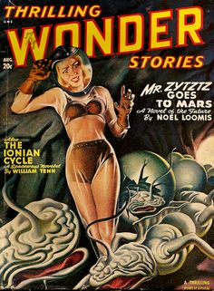Earle Bergey, Thrilling Wonder Stories 48-08, The Ionian Cycle by William Tenn (Philip Klass).