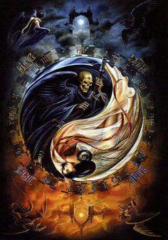 Yin-yang/ dark-light/ good-evil / day-night / male-female......  etc.etc.etc. great pic.
