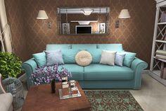 Living Room, Duck Egg Blue Sofa, Chocolate Brown Wallpaper