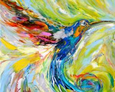 Original Peacock Oil Painting Textured Palette by Karensfineart