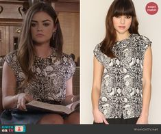 Aria's black and white cat print top on Pretty Little Liars.  Outfit Details: http://wornontv.net/45696/ #PLL