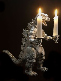 what do you mean Godzilla isnt romantic? what do you mean Godzilla isnt romantic? what do you mean Godzilla isnt romantic? Plastic Animals, Plastic Animal Crafts, Animal Projects, Diy Projects, Candlestick Holders, Balrog, Rococo, Repurposed, Geek Stuff
