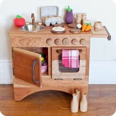 Camden Rose Beautiful Hearth (Child's Cherry Wood Play Kitchen, Without Hutch) Wooden Play Kitchen, Kids Play Kitchen, Play Kitchens, Childrens Kitchens, Cocina Diy, Toddler Fun, Kids Corner, Creative Play, Wood Toys