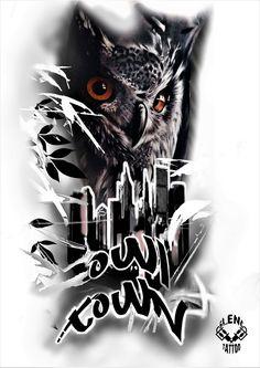 Skull Tattoos, Animal Tattoos, Sleeve Tattoos, Tatoo Designs, Owl Tattoo Design, Ozzy Tattoo, Owl Artwork, Tattoo Project, Custom Tattoo