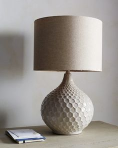 "Honeycomb Ceramic Table Lamp 22""H x 14""W"