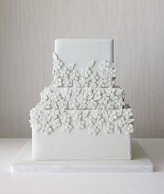Monochromatic Flowers Wedding Cake by The Cake Girls, Chicago