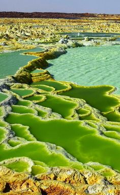 Acid lakes at the Dallol Volcano in Danakil Desert, Ethiopia