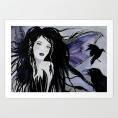 Faery of the Crows Art Print by Helenfaerieart - $20.00 #art #pagan #faerie #watercolour #crows #birds #thecrow #magic #helenfaerieart #gothic