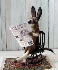 BERNARDO BURRO    Handmade animal art doll. Needle felted from alpaca wool. Pose-able.    With his pince nez, bowtie and Italian newspaper, Bernardo must be a cultured and well-traveled fellow. Bet he loves espresso, biscotti and opera.