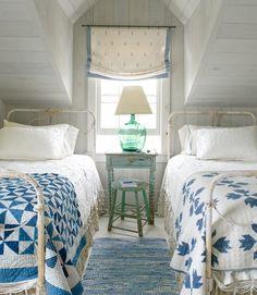 Nantucket cottage  Pinwheel and Bear Paw quilts, green demijohn