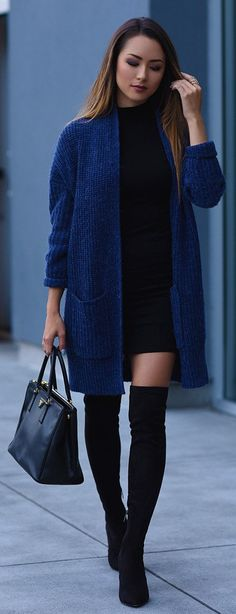 #winter #outfits /  Navy Maxi Cardigan / Black Dress / Black OTK Boots / Black Leather Tote Bag