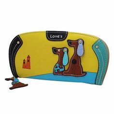 High Quality Wallet Women Stitching Puppy Dog Zipper Coin Purse Long Wallet  Card Holders Handbag Women Money Bag Carteras Mujer dfacfb811c21