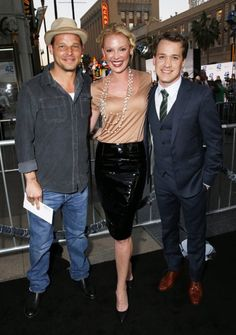 "Katherine Heigl, Justin Chambers, and TR Knight at the LA premiere of ""42"" #GreysReunion"