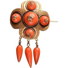 Exquisite 19th century Gold, Coral, Rose Diamond Brooch -- found at www.rubylane.com #vintagebeginshere #happyhalloween