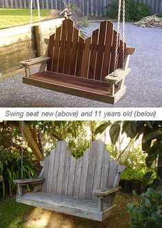 bench swing new and bench swing 11 years old