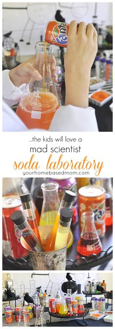 Mad scientist soda laboratory -Halloween Party Idea #spookysnacklab #iworkwithcoke #spookysnacklabcontest