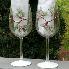 Holiday pine branches and berries hand painted by GlassesbyJoAnne, $40.00